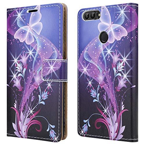 Funda de piel tipo cartera para Huawei P Smart FIG-LX1, Enjoy 7s y Honor 9 Lite, diseño de mariposas, color azul