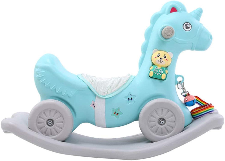 Schaukelpferd Kinder-Schaukelstuhl Jo-Jo-Wagen Mit Doppeltem Verwendungszweck Dickes Plastik-Roller-Gleichgewichtstraining, Musik, Geschenk,Blau