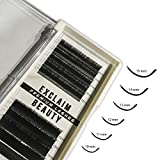 EXCLAIM BEAUTY Lash Extension Supplies, C Curl Eyelash Extensions Including 10-15mm of Mixed Flat 0.15mm Individual Eyelashes, False Black Mink lashes individual Extension For Personal and Saloon Use
