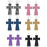 BNMY Pendientes De Cuero PU Pendientes De Cuero con Doble Estampado Cruzado, Pendientes Delicados, para Regalo De Mujer,6 Pack
