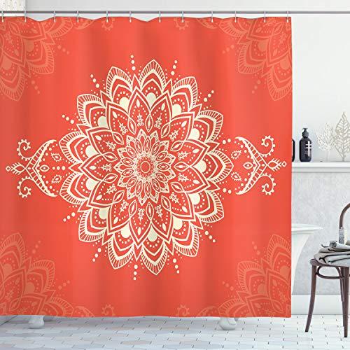 ABAKUHAUS orientalisch Duschvorhang, Kaleidoskopische Mandala-Kunst, Waschbar & Leicht zu pflegen mit 12 Haken Hochwertiger Druck Farbfest Langhaltig, 175 x 200 cm, Orange Elfenbein