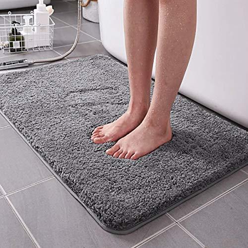 RenFox Badematte rutschfest-Badvorleger Flauschige Mikrofaser Badezimmerteppich Weicher Badvorleger Badteppich Antirutsch Maschinenwaschbare, Grau 50 x 80 x 3 cm