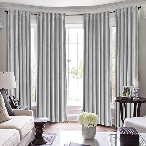 ChadMade Set of 2 Solid Velvet Curtain Panel Drapes Back Tab/Rod Pocket Silver Grey 50W x 84L Inch Each, Birkin Collection