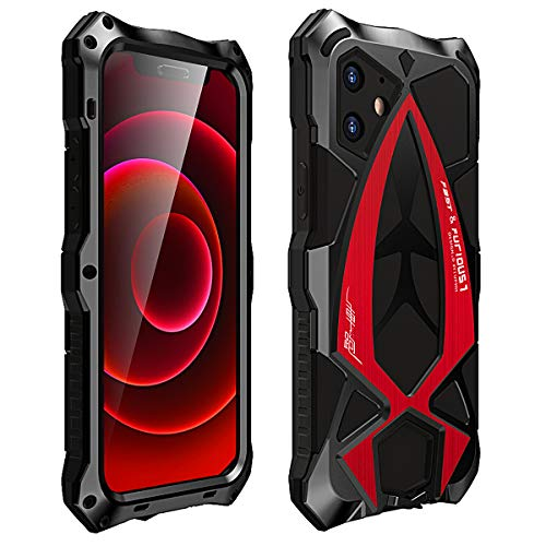 MOSSTAR Funda iPhone 12 Mini 5,4'', Antigolpes Metal Estuche Protectora,[Rugged Armour][Estilo de Coche Deportivo] Absorción de Choque y Duradera Protección de 360 Grados Full Body Carcasa, Rojo