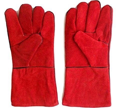 【SCGEHA】耐熱 グローブ 手袋 溶接 牛革 BBQ バーベキュー アウトドア オーブン グリル 薪ストーブ キャンプ 5本指(レッド)
