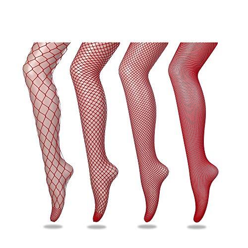 FLORA GUARD Collant a rete da donna, Sexy calze a croce, 4 paia di collant a vita alta con 4 tipi (Rosso)