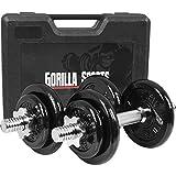 GORILLA SPORTS Koffer Kurzhantel-Set 20 kg Gusseisen mit Hantelstangen, Gewichten und...