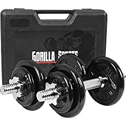 GORILLA SPORTS® Koffer Kurzhantel-Set 20 kg Gusseisen 30/31 mm – Hantel-Set mit Koffer, Hantelstangen, Gewichten und Sternverschlüssen