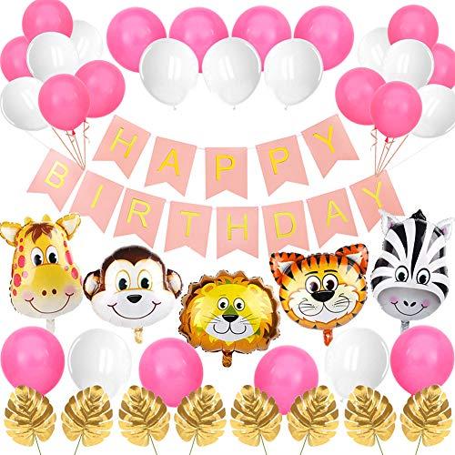 Sunshine smile Safari Geburtstag Deko, Dschungel Kindergeburtstag Deko, Folienballon Tiere, Dschungel Geburtstag Party Deko, Happy Birthday Girlande, Luftballon Geburtstag, Palmblätter Deko (Rosa)