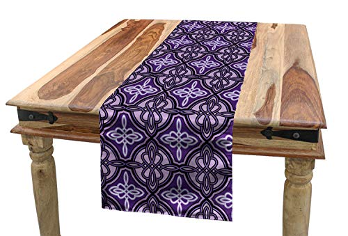 Ambesonne Celtic Table Runner, Unique Celtic Knot with Swirling and Twisted Line Details Print, Dining Room Kitchen Rectangular Runner, 16' X 90', Violet Lilac