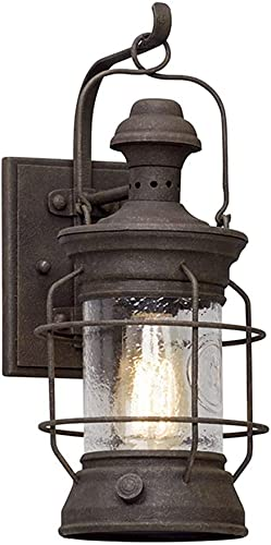 new arrival Troy Lighting B5051 Atkins - One Light popular Outdoor Small Wall online sale Lantren, Cenntinial Rust Finish with Clear Textured Glass outlet sale