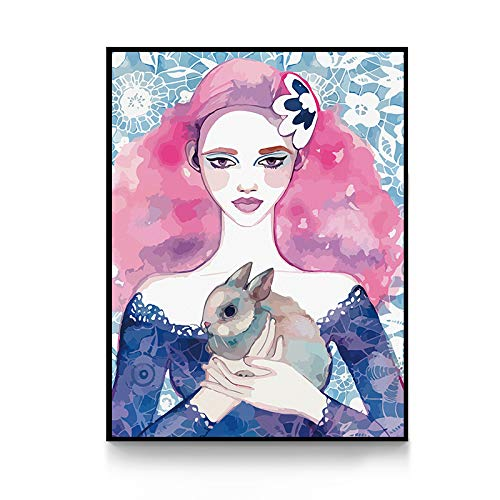 zxddzl Jugendstil Malerei Nordic Poster und Druck für Wohnzimmer Mädchen Salon Wandkunst 2 40x54cm