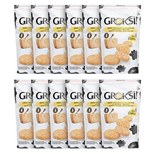 GROKSi! Classico, 12 x 60g, insgesamt 720g, Käse Snack aus Italien, glutenfrei und laktosefrei, Cracker in praktischen 60g Tüten, kalorienarm