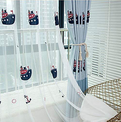 Lactraum Vorhang Kinderzimmer Junge Transparent Weiß Maritim mit Ösen Bestickt Schiff Möwe Anker Voile 145 x 245cm