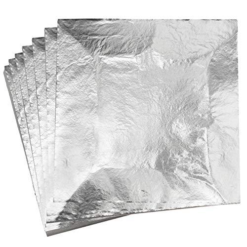 YongBo Gold Leaf,Imitation Silver Gilding 100 Sheets 5.5' X 5.5' Aluminum Leaf Foil for Art Crafts,Home Decoration, Furniture,Painting