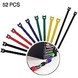 YoungRich - Lote de 52 Bridas Reutilizables en Forma de T para Cable con Hebilla Ajustable con Correa para TV, USB, PC, Ordenador, Ordenador, Oficina, Hogar, Multicolor
