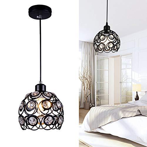 Chao Zan Luces Colgantes LED de Cristal Moderno - Lámpara Colgante Interior E27 Iluminación de Techo Lámpara de techo Plafón para Habitación Restaurante Dormitorio Sala de estar corredor negro