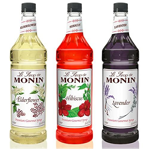 Monin - Floral Variety Pack, Lavender, Elderflower, & Hibiscus Syrup, Floral Flavors, Great for Cocktails, Mocktails, Teas, & Lemonades, Gluten-Free, Vegan, Non-GMO (1 Liter Per Bottle, 3-Pack)