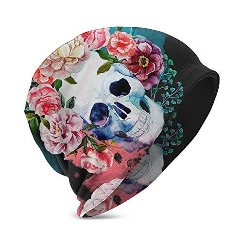 XCNGG Gorros Unisex para niños, Gorro de Punto con Calavera y Rosas de Acuarela Mexicana Impresa en 3D, Gorro de Calavera, Invierno, Verano, Sombreros cálidos para niñas y niños