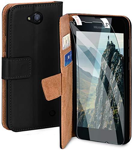moex Handyhülle für Microsoft Lumia 550 - Hülle mit Kartenfach, Geldfach & Ständer, Klapphülle, PU Leder Book Hülle & Schutzfolie - Schwarz