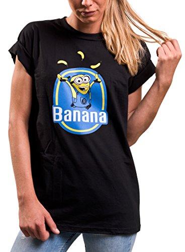 Lustige Print Shirts für Damen - Banana - Kurzarm locker lässig Minions große Größe S