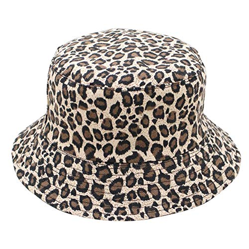 Sombrero de cubo con estampado de leopardo Cúpula de doble cara con estampado de leopardo Plegable Verano colorido Sombrero de pescador Hombres Mujeres Gorra de cubo