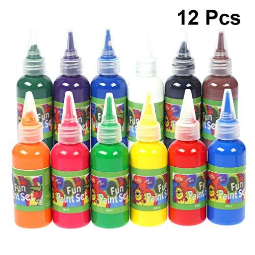SuPVOX 12 Farben 60 ml flüssige Aquarellfarbe Set für Kinder Basteln Geschenk