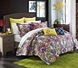 Chic Home Mumbai 8 Piece Reversible Comforter Set/Printed Luxury Bed in a Bag, Queen