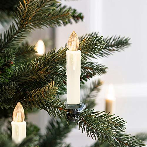 Hengda 30er LED Weihnachtskerzen Kabellos, Warmweiß Christbaumkerzen mit Fernbedienung Timer, LED Kerzen Dimmbar, für Weihnachtsbaum, Weihnachten, Weihnachtsdeko, IP44