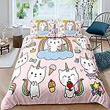 Loussiesd - Juego de ropa de cama para niños, diseño de unicornio, para niñas,...