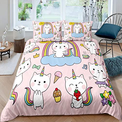 Feelyou Kinder-Bettwäsche-Set mit Einhorn-Katze, süßes Einhorn-Deckenbezug für Mädchen & Teenager, Cartoon-magische Tier-Dekoration, Bettbezug, Geschenk für Kinderzimmer, Tagesdecke, bunt