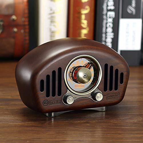 Radio Retro Clásico Retro Portátil Altavoz Bluetooth de Madera Maciza Radio Vintage Reproductor de MP3 Sonido Fuerte para Regalo Recargable