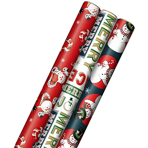 "Hallmark Vintage Christmas Wrapping Paper Cut Lines on Reverse (3 Rolls: 120 sq. ft. ttl) Dancing Santas, Classic Snowman, ""Merry, Jolly, Happy, Peace"""