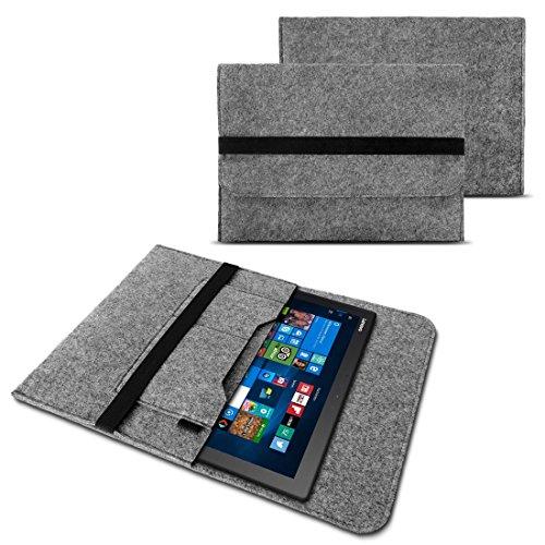 NAUC Tasche Hülle für Acer Switch Alpha 12 Filz Sleeve Schutzhülle Laptop Hülle Cover Notebook aus Filz in Grau mit Innentaschen sicheren Verschluss