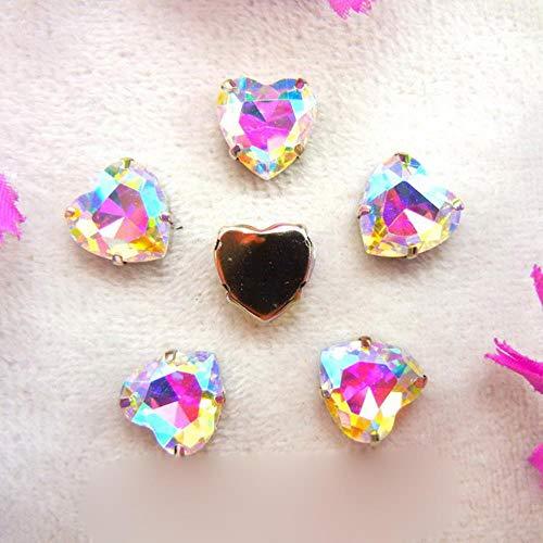 AB Colores Plata Garra Ajustes 7 Tamaños Forma de Corazón Coser en Cristal Rhinestone Perlas de Cristal Vestido de Boda Accesorios Recorte