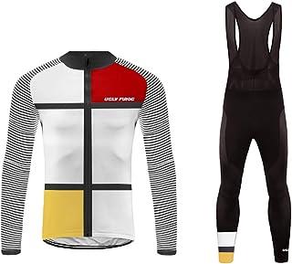 BurningBikewear Uglyfrog Nuevo Maillots+Pantalones Ciclismo Hombres Bib Set Invierno with Fleece de Bicicleta de Ropa de Ciclo ZRMX07