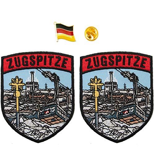 A-ONE Zugspitze Alpen Schild Patch 2 Stück + Deutschland-Flagge Abzeichen 1 Stück, Freistaat Bayern Wahrzeichen & Deutschland Land Anstecknadel