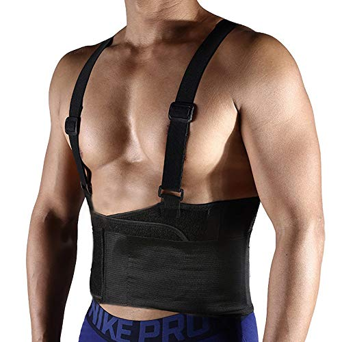 FITTOO Working Lumbar Lower Back Brace Support Belt with Adjustable Straps - Back Pain Relief, Injury Recovery, Heavy Lifting Support, Back Brace with Suspenders