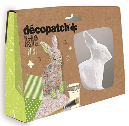 Décopatch KIT020C Décopatch Mini Kit (mit 2 Bögen Papier (30 x 40 cm), 1 Pinsel, 1 Pappmaché Kaninchen zum Verzieren, 1 Tube Kleber, ideal für Kinder, Ostern)