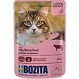 Bozita Pouch Häppchen in Soße mit Rind | 12 x 85g Katzenfutter nass