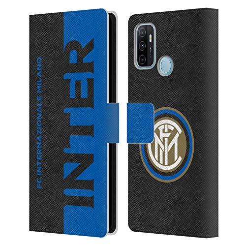 Head Hülle Designs Offiziell lizenzierte Inter Mailand Halb-Grafik-Lederhülle, kompatibel mit Oppo A53 / A53s