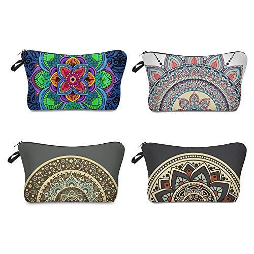 Sayiant 4er Bunt Kulturbeutel,Kosmetiktasche für Handtasche,Schminktasche Damen Make Up Tasche,Bleistifttasche mit Reißverschluss Mandala