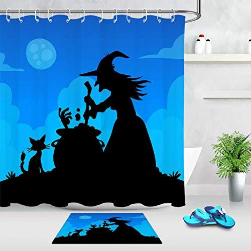 xuelizhou Halloween Heks Black Cat Shadow Badkamerset douchegordijn grootte: 180X180cm badkamermat grootte: 60X40cm