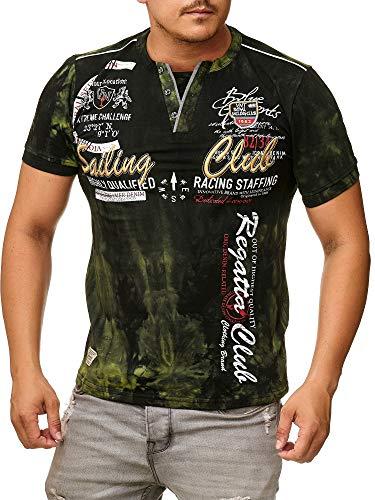 Herren T-Shirt mit Knopfleiste | Verwaschen V-Neck Kurzarm mit Gestickten Details |Sportlich | Elegant Sailing Slim Fit 2879 (3XL-Slim, Khaki)