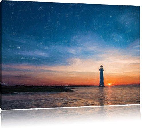 Pixxprint Leuchtturm als Leinwandbild | Größe: 80x60 cm | Wandbild| Kunstdruck | fertig bespannt