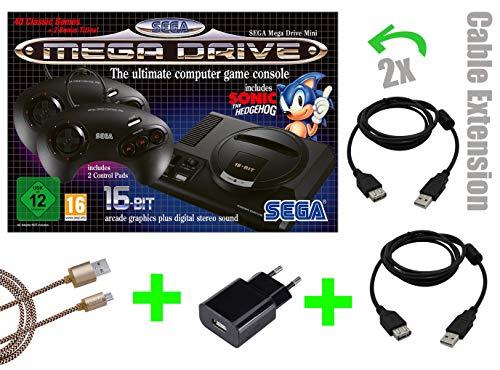 SEGA Mega Drive Mini CONSOLE [VERSIONE UFFICIALE] + 2x prolunga da 2m da LOCK NESS + ALIMENTAZIONE USB + cavo micro USB da 3m