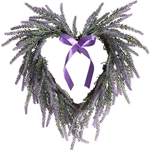 Yusat Artificial Lavender Wreath, Hanging Heart-Shaped Wreath for All Seasons Indoor Outdoor Floral Wreath Decor for Home Wedding Wall Door Window Decor