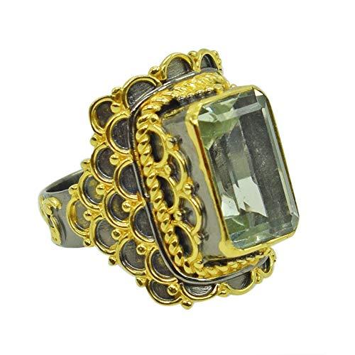 Ravishing Impressions Jewellery Anillo solitario de plata de ley 925 chapado en rodio con amatista verde, Piedra, Amatista verde,