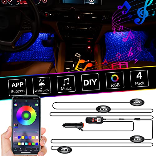 Car Interior Lights Bluetooth Star Projector LED Neon Lights for Car Under Dash with Music Sync 12V(Cigarette Lighter)/5V(USB) Atmosphere Lamp for Indoor Car Party ( Controller and APP)