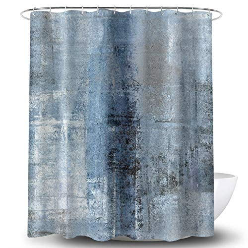 COLORPAPA Blue Shower Curtain Modern Blue and Grey Abstract Painting Home Bathroom Decor Fabric Waterproof 72 x 72 Inches Set with Hooks Navy